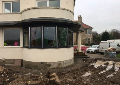 During installation of grey upvc windows