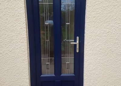 Blue door with leaded lights