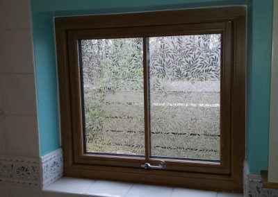 Residence 9 oak window inside with teardrop handle
