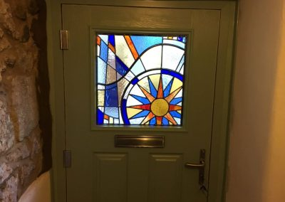 composite door with customised glass