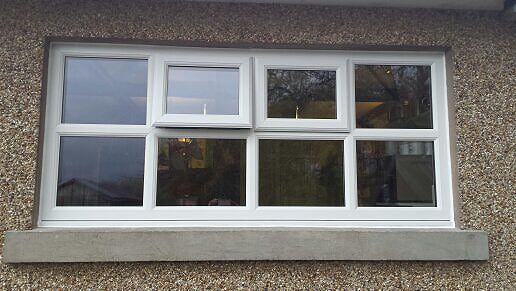 white upvc top opening windows