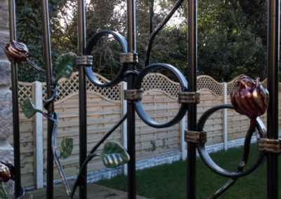 Galvanised and powdercoated steel gate with hand painted finish