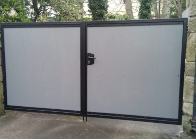 Galvanised and powdercoated steel gate with composite infill
