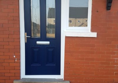 blue fiberglass door double rebate a rated with side screen