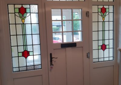 Suffolk Door with recalimed leaded lights encapsulated in side screens and toplights Leaded Lights inside