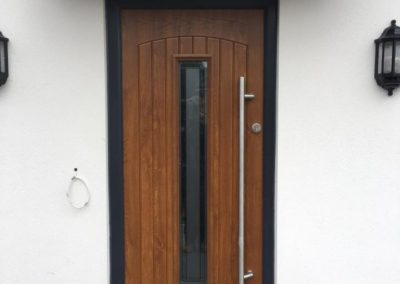 Oak Fibreglass composite door with Anthracite Grey frame