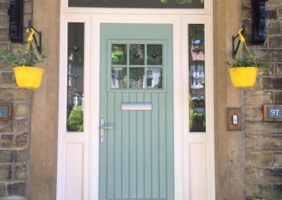 Chartwell Green fibreglass composite door side and top lights