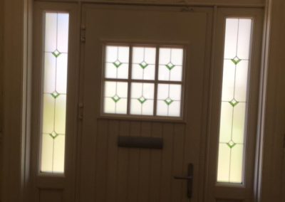 fiberglass composite door with side and top lights
