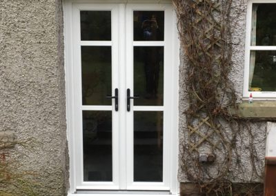 french doors in white woodgrain