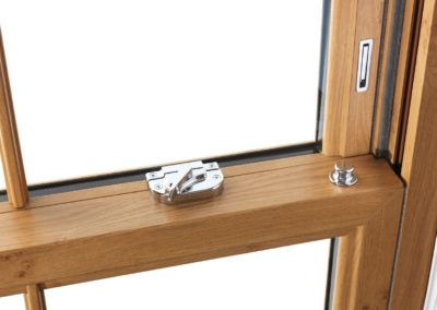vertical sliding sash window irish oak, internal close up