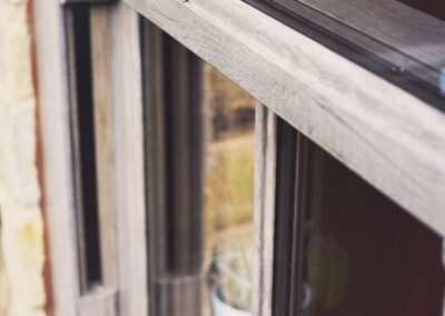 close up vertical sash window