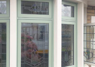 Chartwell Green flush sash bay windows